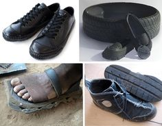 I say shoes dammit - there's something Mad Max about shoes made from tyres. I don't see any women's boots here! I would have thought that was obvious.
