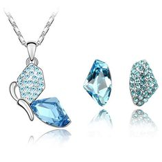 Butterfly Necklace Pendants Stud Earrings Crystal from Swarovski Fashion Jewelry Sets Trendy Necklace For Women 4339