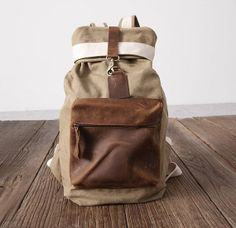 Cow leather bag/ canvas bag /BACKPACK/ Leather by Commandery, $39.90