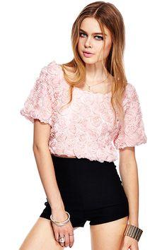 ROMWE 3D Rose Embellished Short-sleeved Crop Pink T-shirt #romwebeyondthecolor