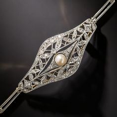 Edwardian Diamond and Natural Pearl Bracelet