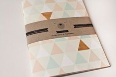 Beautiful new spring notebook with wood-triangles