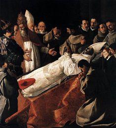 The Lying in State of St Bonaventura. Zurbarán. 1629. Oil on canvas.  250 x 225 cm. Musée du Louvre. Paris.