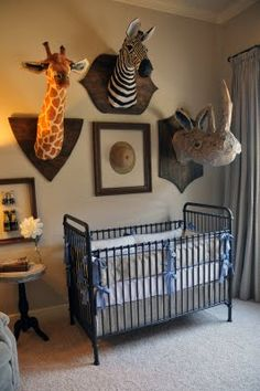 Mounted stuffed animals for a kids child s room  Great ideas for upcycling  stuffed animals on this Board Design a Girl s Dream Bedroom or Nursery With a Carousel Horse  . Animal Themed Nursery Ideas. Home Design Ideas
