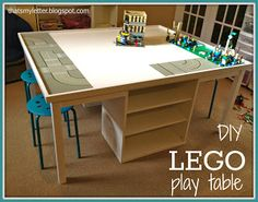 This custom DIY LEGO table was built by Jaime Costiglio who also provides free plans to build your own. It's a LEGO lover's dream come true. Lego Play Table, Lego Table With Storage, Kids Play Table, Lego Storage, Storage Shelves, Storage Ideas, Lego Shelves, Ikea Shelves, Bookshelves