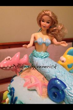 Mermaid cake theme Made from Fondant and icing  Chocolate melts