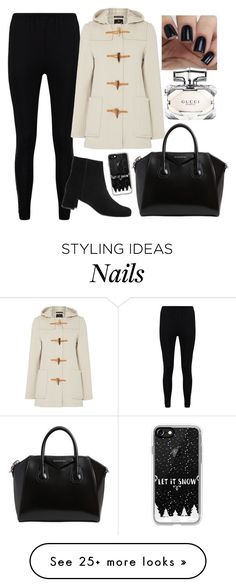 """Out for coffee!"" by ravleenkkamra on Polyvore featuring Boohoo, Gloverall, Adrienne Vittadini, Givenchy, Casetify, Gucci, Winter, Christmas and HolidaySeason"
