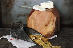Wooden Geometric Cheese Block