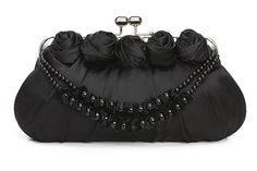Chicastic Black Satin Rosette Bridal Clutch Bag Purse With Rhinestone Clip  Pearl  Satin String - http://www.besthandbagsdeals.co/clutches/chicastic-black-satin-rosette-bridal-clutch-bag-purse-with-rhinestone-clip-pearl-satin-string/ #Bag, #Black, #Bridal, #Chicastic, #Clip, #Clutch, #Pearl, #Purse, #Rhinestone, #Rosette, #Satin, #String, #With