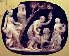 Cameo of the childhood of Dionysus, 1st century BC (agate and onyx)