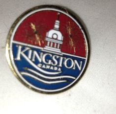 Kingston Canada Gold Tone Enamel Round Pin Pinback Lapel Pin