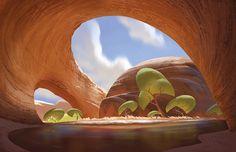 Vis Dev artist at Blue Sky Studios. Environment Concept, Environment Design, Game Environment, Animation Background, Art Background, Landscape Concept, Landscape Art, Tyler Carter, Art Environnemental
