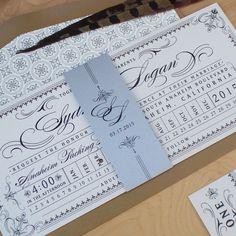 Loving this flourish filled vintage ticket wedding invitation by Jen Simpson Design #ticketinvitation