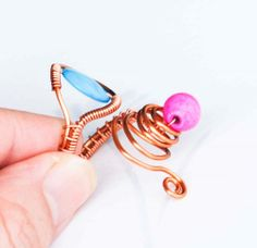 Spring Pink Blue Woven Unique Cocktail Wire Wrap Adjustable Ring #Cocktail