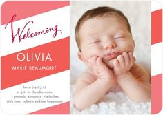 Beautiful photos and stripes in this birth announcement.