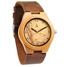 Tree Hut, SF. The bamboo wooden watch is equipped with high quality Japan quartz movement. Diameter of the dial 1.3 inches. Strap is made of genuine leather. Face of the watch is made from American Black Walnut.
