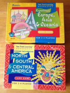 2 Fast Track Learning Geography Games-Europe, Asia North/South America EXCELLENT #LearningResources