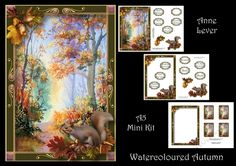 Watercoloured Autumn by Anne Lever This lovely mini kit makes an A5 topper with extra frame decoupage eleven greetings a blank greetings tile four gift tag toppers and a matching insert. It features a beautifully painted watercolour autumn scene and is embellished with autumn leaves nuts and a squirrel.