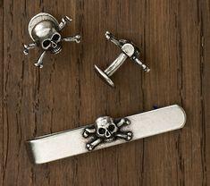 skull tie bar and cufflinks set Rugby /Ralph Lauren