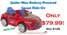 Grab this NOW before the price goes up! The Spiderman Battery-Powered Ride-on is only $79.99! Save $70! Free shipping or store pickup!  Click the link below to get all of the details ► http://www.thecouponingcouple.com/spider-man-battery-powered-coupe-ride-on/ #Coupons #Couponing #CouponCommunity  Visit us at http://www.thecouponingcouple.com for more great posts!