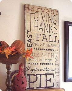 Wonderful handpainted Thanksgiving themed subway art on painted pine board.  Just use the photo and tips for inspiration.