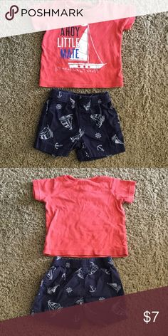 Carters outfit size: 9 months. Carters sailor outfit size: 9 months. 100% cotton. Super cute for 4th of July or at the beach. Come from a pet/smoke free home. Carter's Matching Sets