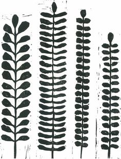 LINOCUT PRINT  Black & White Fern Print  Modern by magprint