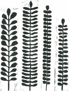 LINOCUT PRINT  Black & White Fern Print  Modern by magprint