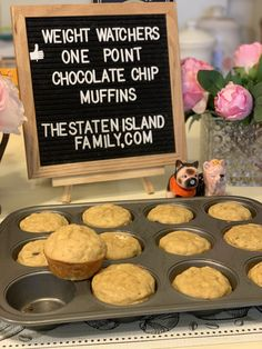 Weight Watchers one point FULL SIZED chocolate chip muffins - The Staten Island family