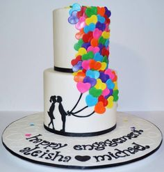 engagement party cake with heart balloons