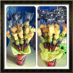 Transformers Fruit Kabobs for Aaron Fruit Birthday, 4th Birthday Parties, Birthday Bash, Rescue Bots Birthday, Transformers Birthday Parties, Transformer Birthday, Fruit Kabobs, Joshua 5, Birthdays