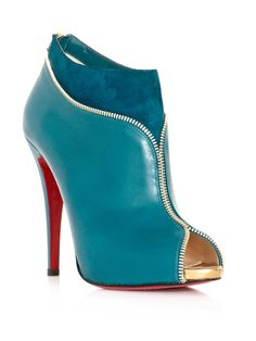 Louboutin Turquoise Colzippe Ankle Boots