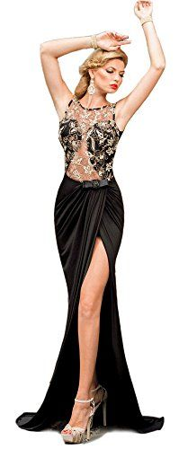 d452ebc3203 Amazon.com  Sexy Hollow Out Lace Patchwork Sleeveless Evening Party Maxi  Long Dress Large  Clothing
