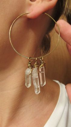 Black Friday Etsy Hoop Earrings Wire Wrap Quartz Crystal Points Big Earrings Boho Gypsy Hammered Brass Metalwork Earrings. $38.00, via Etsy.