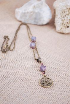 Lotus necklace purple beaded charm necklace bicone by Estibela