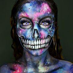 Makeup ideas Halloween – Great Make Up Ideas Scary Makeup, Skull Makeup, Halloween Face Makeup, Skeleton Makeup, Cosplay Makeup, Costume Makeup, Horror Make-up, Helloween Party, Galaxy Makeup