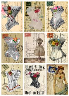 "instantly download of nine (9) cards with fancy corsets, 2.5"" by 3.5"" digital collage sheet --  no. 235 via Etsy"