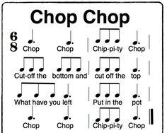 Chop Chop Chippity Chop a fun Orff activity in 6/8 time. using solfege sol, la, mi, do