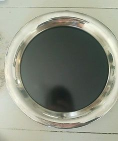 Vintage Eales 1779 Silverplate black Formica Oval  Serving Tray made in italy