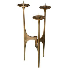 Anonymous; Bronze Candle Holder by Van Heeck, 1960s.