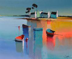 Acrylic Painting Techniques, Diy Canvas, Art Plastique, Landscape Art, Artsy Fartsy, Seaside, Abstract Art, Boat, Paintings
