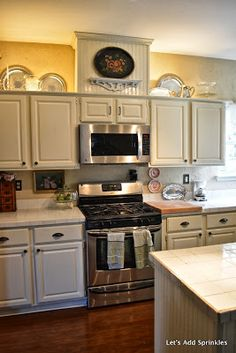 Let's Add Sprinkles: Updating a Kitchen With a Faux Vent Hood. Over The Stove Microwave, Microwave In Kitchen, 70s Kitchen, Hidden Kitchen, Kitchen Stove, Updated Kitchen, Kitchen Redo, Kitchen Remodel, Kitchen Ideas