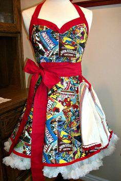 Woman's retro Comic Con handmade apron by mimisneedle on Etsy