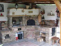 Pretty Outdoor Backyard Kitchen Ideas - Page 17 of 48 - Making Your Dream Home a Reality Backyard Kitchen, Summer Kitchen, Outdoor Kitchen Design, Outdoor Kitchens, Outdoor Oven, Outdoor Cooking, Outdoor Spaces, Outdoor Living, Wood Fired Oven