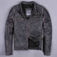 Designer Gray Leather Retro Vintage Gothic Biker Bomber Jacket Men SKU-116213