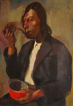 Aba-Novak Vilmos. (1894-1941). Hungarian Post -impressionist. Muzsikus cigany ebedje / The Gypsy Musician's Lunch. 1927