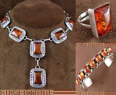 Genuine Sterling Silver and Amber creates a classic look that is hard to ignore! SilverTribe.com has a collection of Pendants, Rings, Earrings and much more that makes it easy to create your own set!