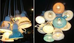 Lights made of tea cups ! Very interesting result. Made by Domestic Construction. #Light, #Tea, #Upcycled