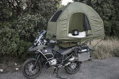 The MoBed Motorcycle Tent 3 ( lol that's taking it to a whole new level ) camping Motorcycle Tent, Motorcycle Adventure, Motorcycle Touring, Tent Camping, Camping Gear, Gs 1200 Adventure, Side Car, Klr 650, Enduro