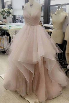 Elegant V Neck Tulle Long Prom Dress, Cute Tulle Evening Dress, Ball Gown Prom Dresses, Sweet 16 Dresses, Ball Gown Wedding Dresses Ball Gowns Prom, A Line Prom Dresses, Tulle Prom Dress, Long Wedding Dresses, Cheap Prom Dresses, Party Gowns, Ball Dresses, Gown Wedding, Evening Dresses